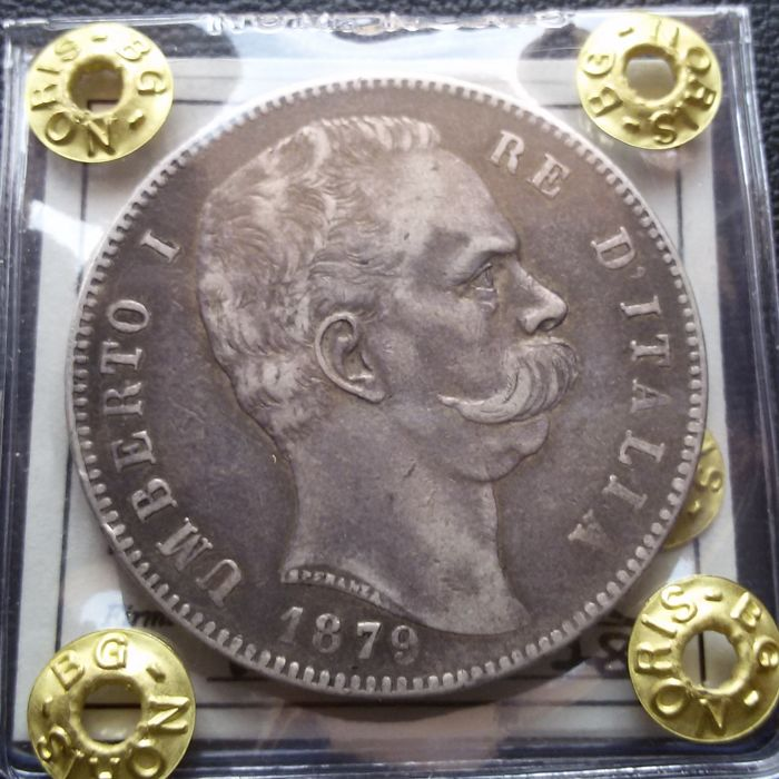 Kingdom of Italy - 5 Lira, 1879 - Umberto I - silver