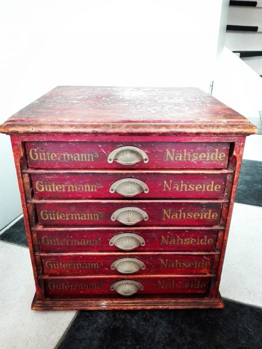 Rare sewing thread cabinet or haberdashery cabinet by Gütermann