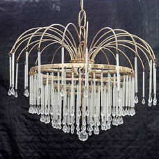 Ceiling lamp made of rock crystal tears and brass, 20th century