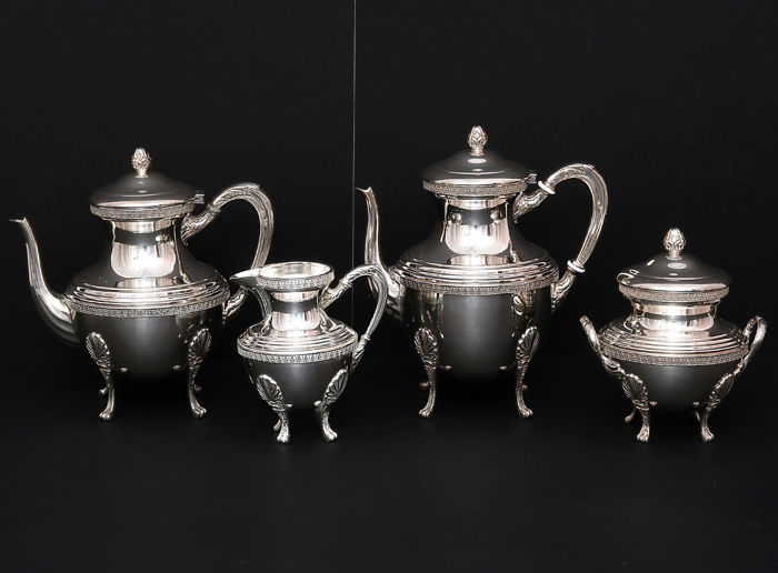 Sterling silver 4 piece service coffee -tea,    -Egypt Alexandria    -after 1946