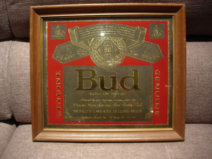 BUD King of Beers Genuine, lager beers frame advertising poster sign