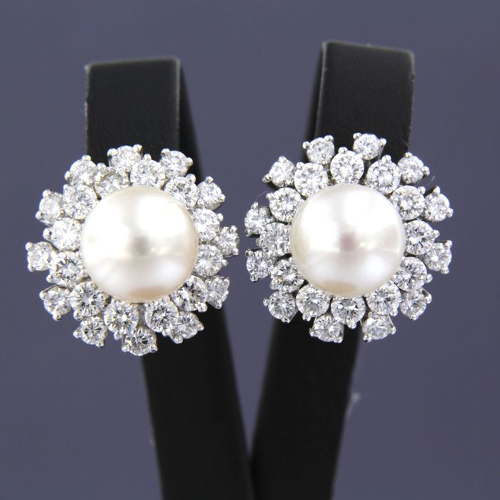 Earrings - White gold - 4.1 ct - Diamond and Pearl