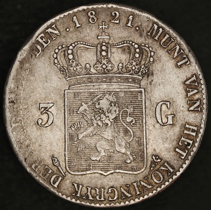 The Netherlands - 3 guilders 1821 U, Willem I - silver