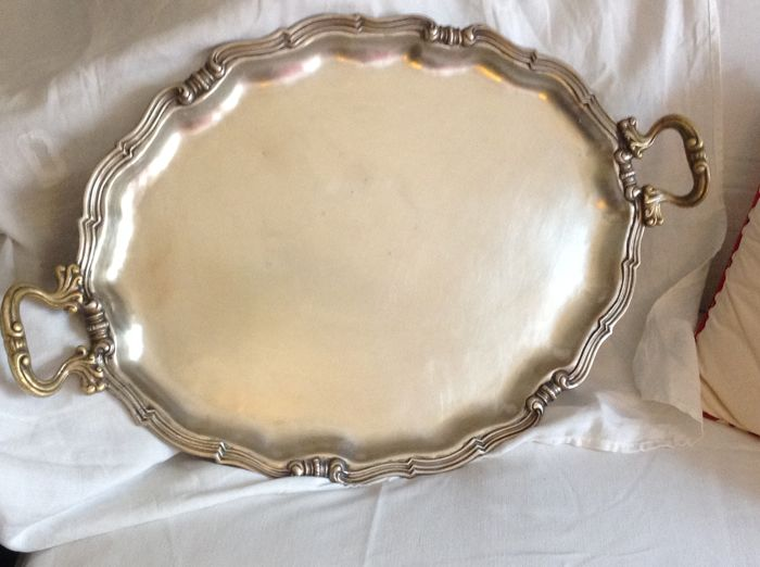 Large silver plated tray, c. early 1800s
