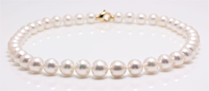 Lustrous 9.3x12 mm Australian South Sea Pearl Necklace Completed with an 18K Yellow Gold Clasp