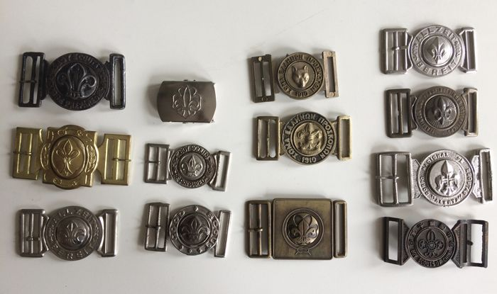 Collection of vintage Scout Association belt buckles
