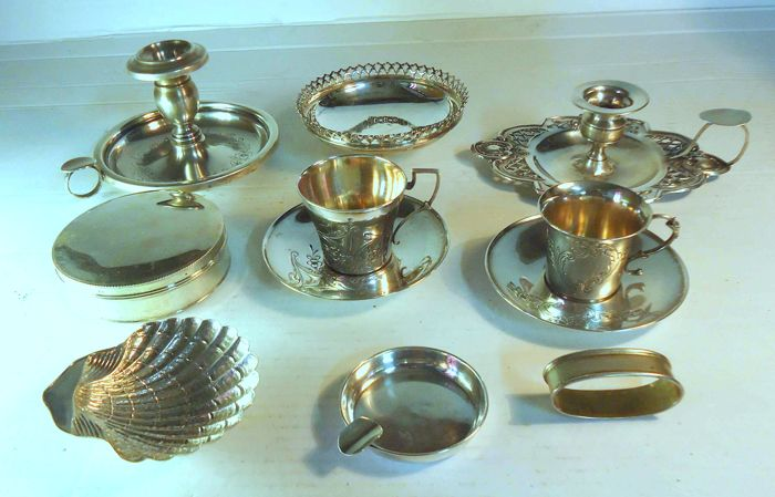 Lot of 8 pieces in solid silver (boar and eagle hallmarks) total weight 680 g silver from Portugal