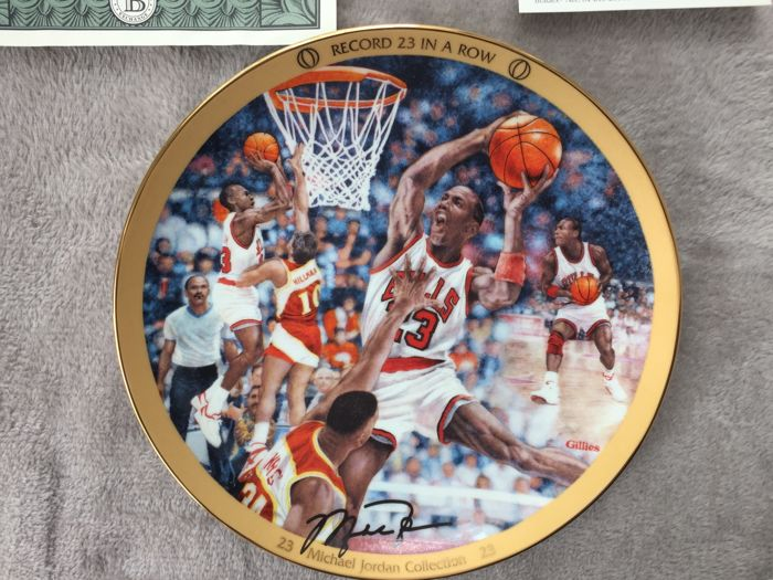 Magnificent painted porcelain plate with the silk-screened signature from the limited collection Michael Jordan Collection.  Upper Deck certificate