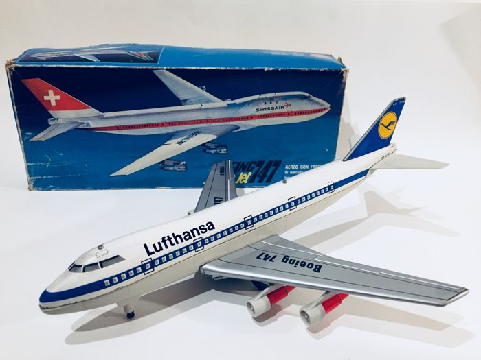 Marchesini, Italy, 39.5cm, Boeing 747 Lufthansa, 1960s, friction powered