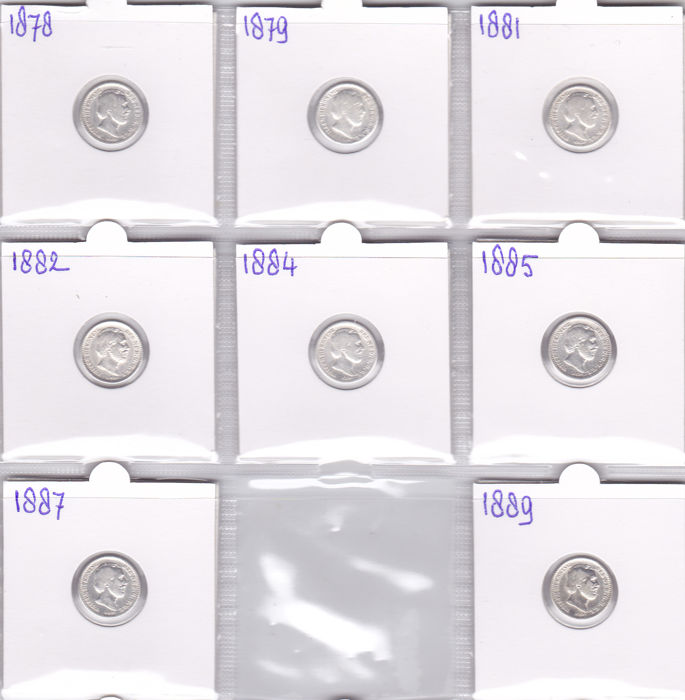 Netherlands - 10 cents 1878/1889 William III - 8 pieces - silver
