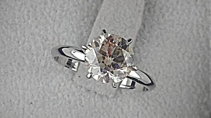 2.20 ct Fancy Round Diamond Solitaire Engagement Ring in Solid White Gold