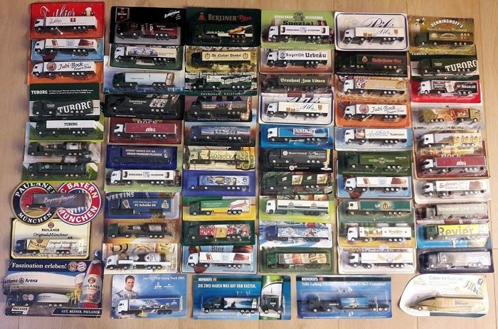 Lot with 64 advertising trucks, beer advertising only, from circa 1980 to 2006, in original packaging and in mint condition