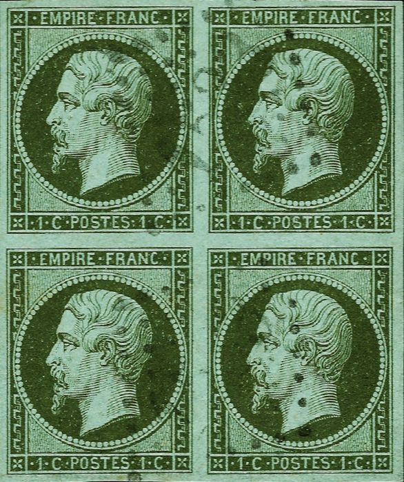 Frankreich 1860 - Empire 1 centime olive on azure, block of 4 postmarked - Yvert 11