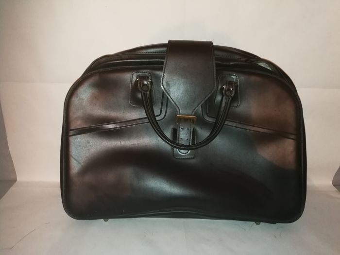 Vintage medical travel bag in brown leather with leather belts - 1950s/60s - Italy