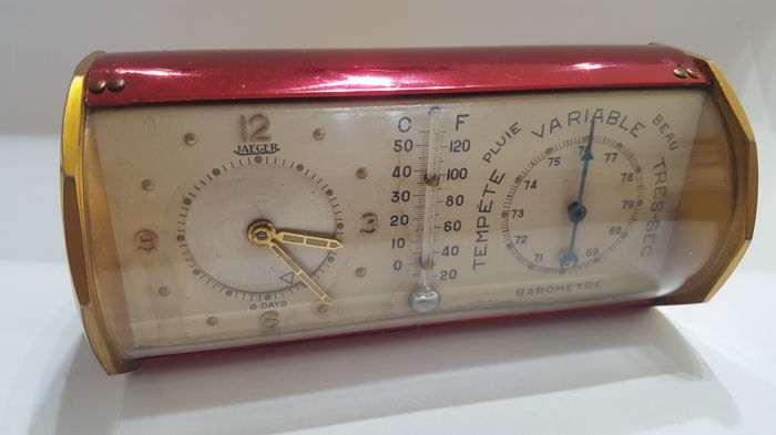 Jaeger desk clock with weather station – 1950s