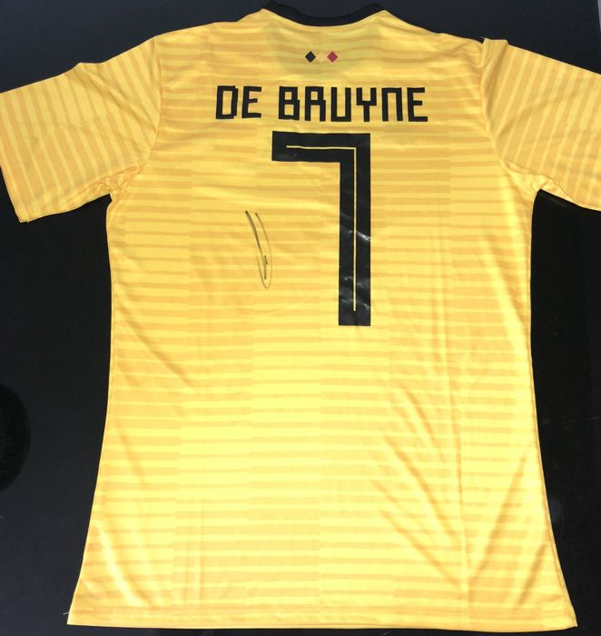 Signed Kevin De Bruyn Belgium Away World Cup Shirt 2018 Proof