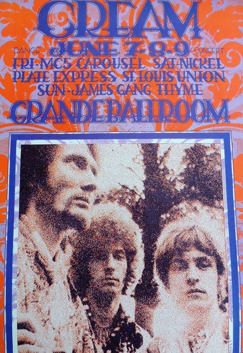 "Extraordinary rare CREAM Eric Clapton psychedelic """" Dance"" Concert Poster"