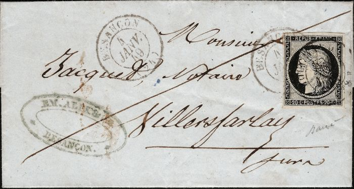 France 1849 - Cérès 20 c black, cancelled, date stamp from Besançon on 4th January 1849 - Yvert no. 3