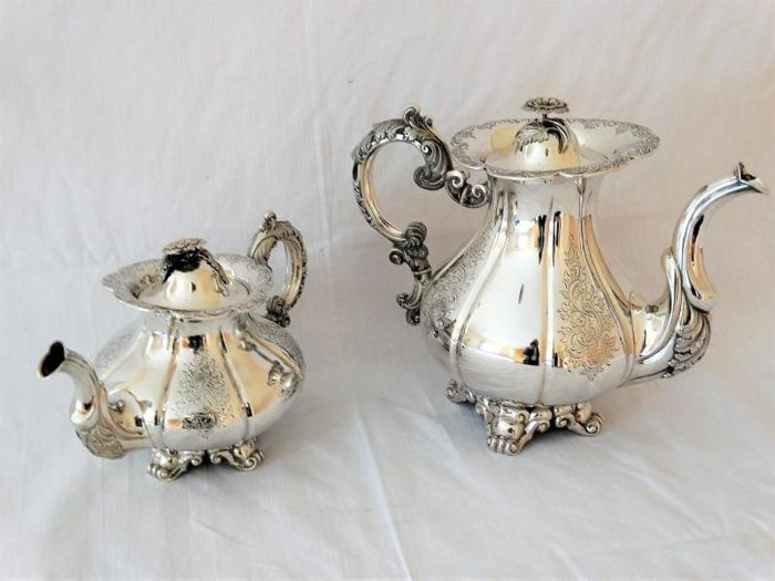 Silver tea and coffee pot, Biedermeier style, Amsterdam, J.D. Arnoldi & J.W. Wielinck, 1858