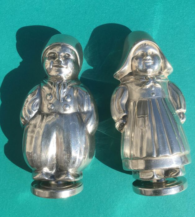 Hans Jensen Hejl & Co. - girl and boy as salt and pepper shakers silver-plated