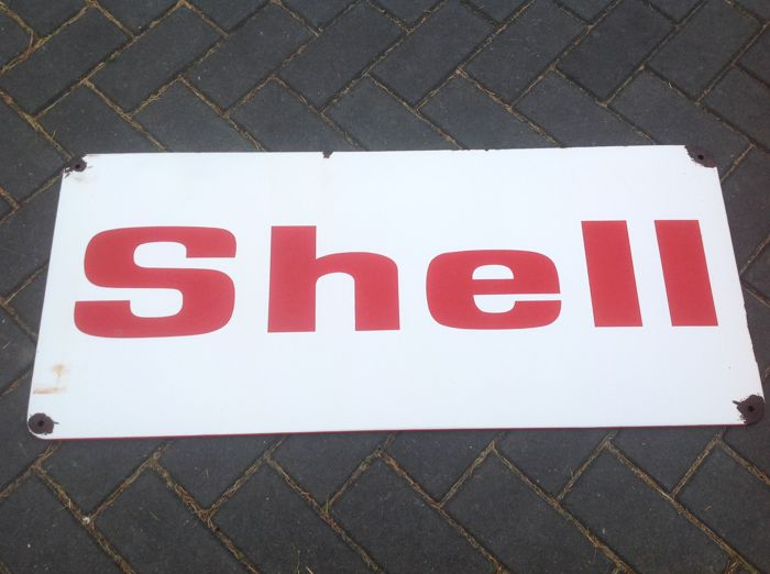 Old original enamel advertising sign Shell petrol / engine oil - ca. 1950