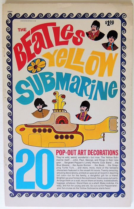 "Rare psychedelic ""Beatles Yellow Submarine"" Pop Art 1968 USA"