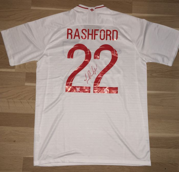 Signed Marcus Rashford England Home World Cup Shirt 2018 Proof