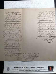 Klemens Von Metternich - Signed manuscript on headed paper on caring about Napoléon marriage - 1835