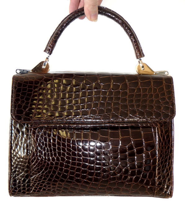 Echt IRV Designer Kroko Tasche ohne Mindestpreis - Handbag leather bag bag carry bag - Vintage