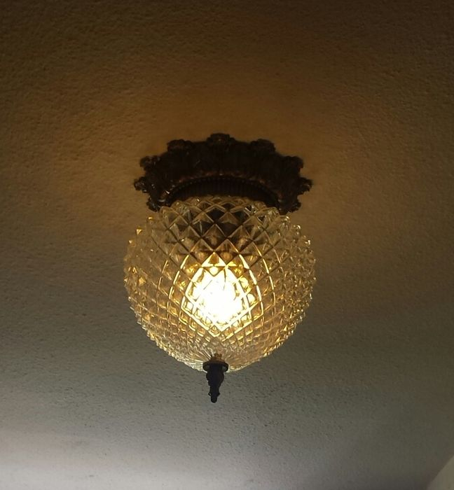 Ceiling lamp - 70s, the Netherlands - brass and glass