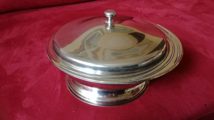 Gottinghen tray with lid, silver plated with true gold