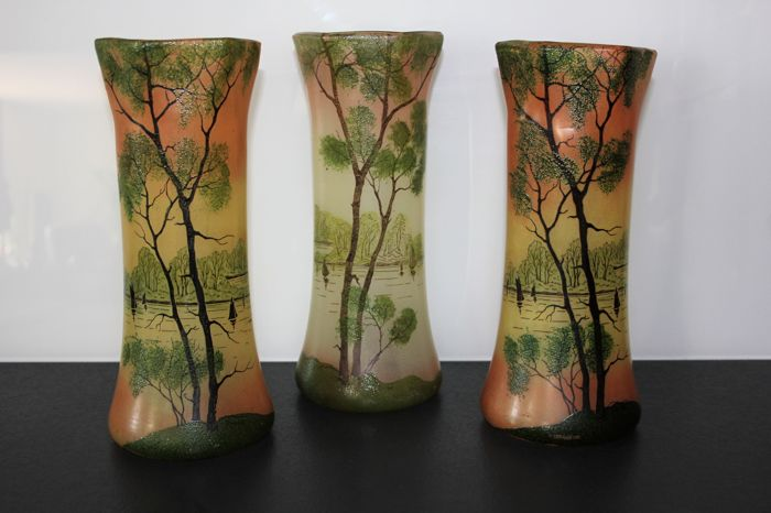 Legras Attributed To Three Art Deco Vases In Enamelled Glass Wit