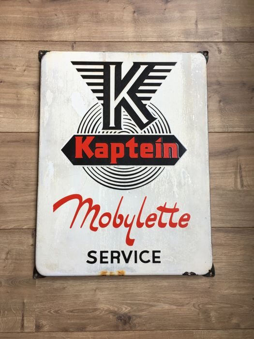 Emaille reclamebord Kaptein Mobylette - 1951