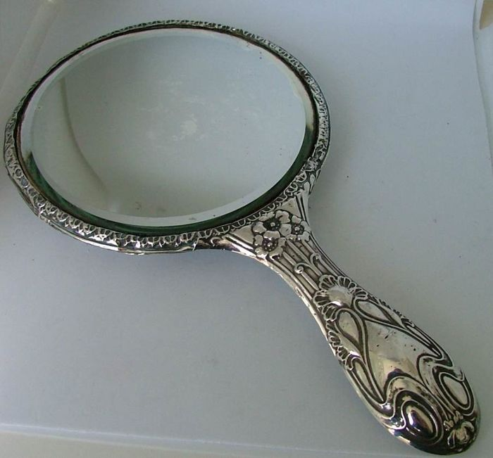 Antique Sterling Silver Art Nouveau Hand Mirror W J Myatt Co Ltd