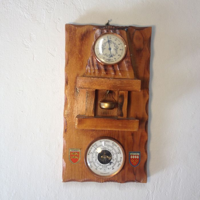 Very Lovely Hand-carved Barometer and Thermometer - French Quality - Very Midcentury Design