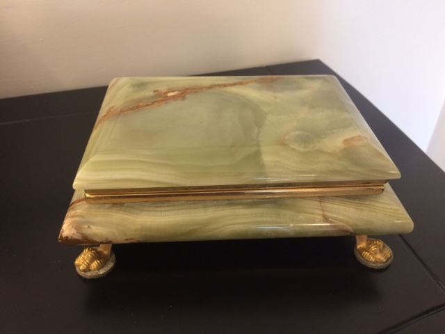 Green marble and brass box