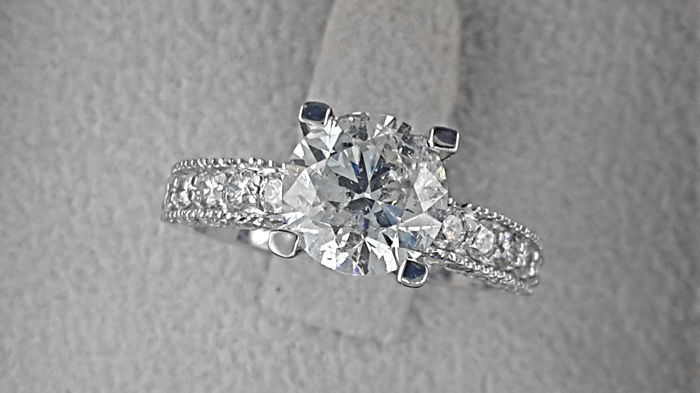 2.87 TCW Round  Diamond Engagement Ring in 14 kt White Gold Pave Band