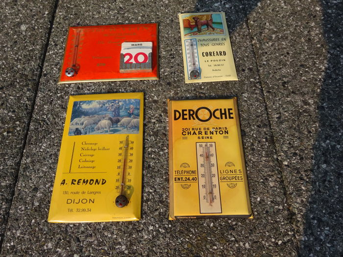 4 x Advertising sign / thermometer cardboard - Miscellaneous - various time periods
