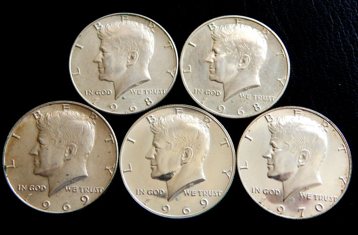 United States - ½ Dollars 1968D, 1968S, 1969D, 1969S & 1970S 'Kennedy' (5 pieces) - silver