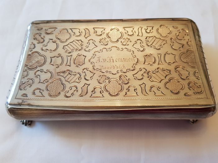 Silver spoon box on feet with proprietary mark, The Netherlands, 1868