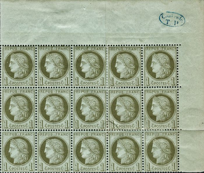 France 1872 - Ceres, serrated, 3rd Republic, 1 centime, olive, block of 15 - Yvert no. 50