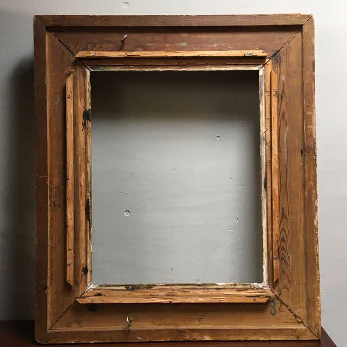 Large antique picture frame, wood with plaster - Catawiki