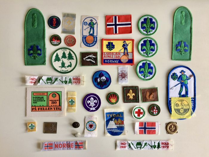 Collection of 37 vintage Scout Association objects Norway and cap