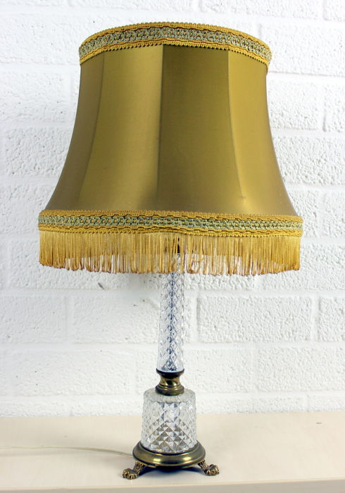 A vintage crystal table lamp with gold-coloured fabric shade and claw feet, Belgium, 1960s