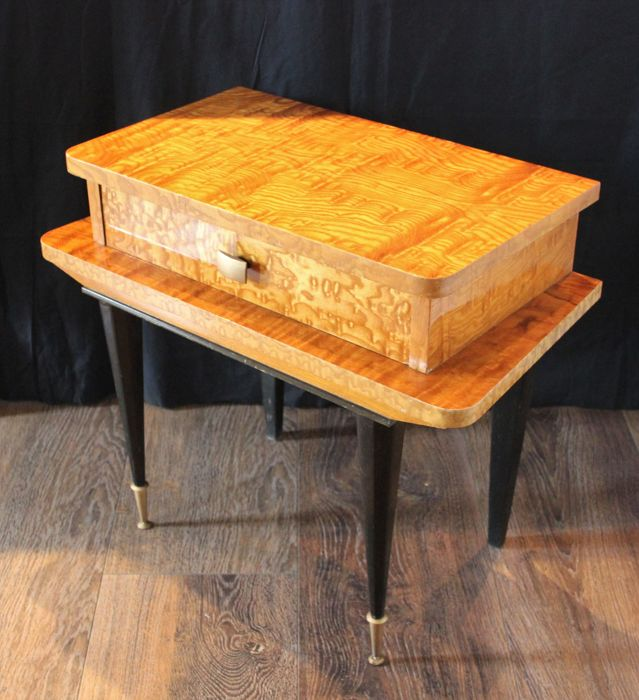 Unknown designer - Inlaid wood nightstand with a drawer