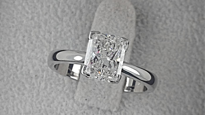 1.46 ct Princess Diamond D/SI1 Solitaire Engagement Ring in Solid White Gold 18K