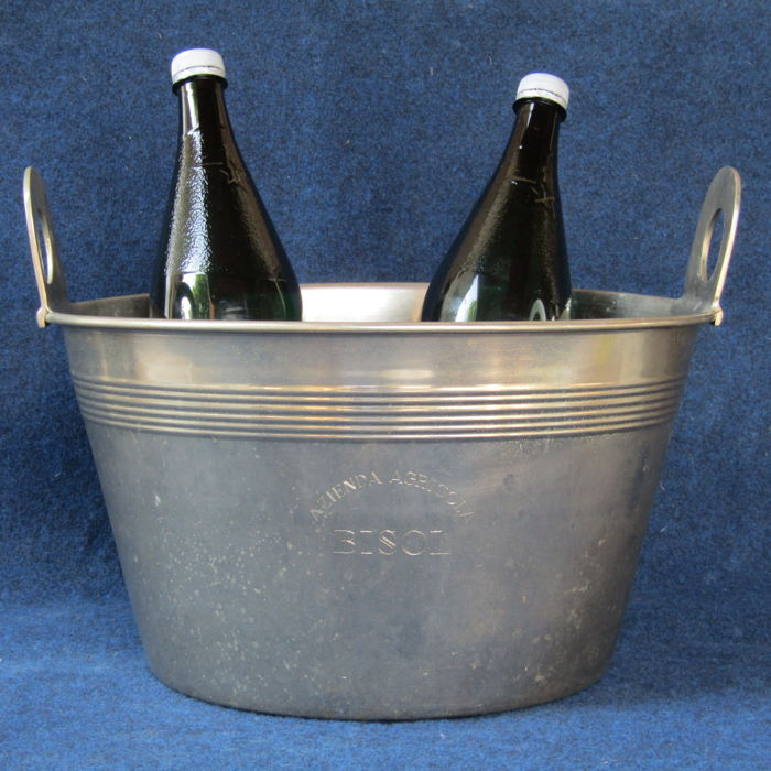 Large sized ice bucket in stainless steel - by Bisol Valdobbiadene, Italy - second half of the 20th century