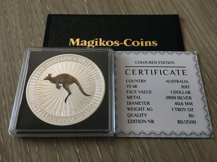 Australia - 1 Dollar 2017 Kangaroo - Color - 1 Oz - Silver