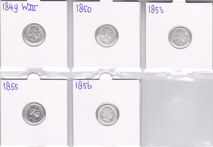 The Netherlands - 10 cents 1849 up to 1856 Willem III- 5 pieces - silver.