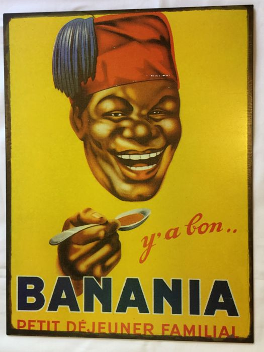 "Beautiful vintage metal advertising panel, ""BANANIA"" __ circa 1980"